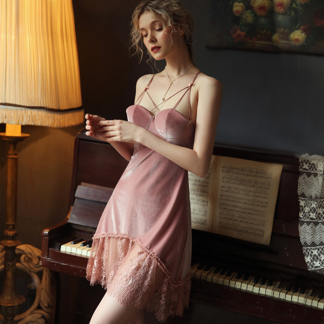 Sexy Velvet Nightdress Woman Lace V neck Nightgown Sleepwear Back Suspender with Breast Pad Small Chest Temptation Nightwear