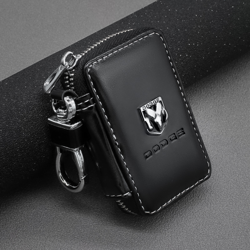 1PCS Leather Key Wallets Zipper Car Key Holders Buckle Key Case Housekeeper Holder For Dodge Journey Ram 1500 Challenger Caliber