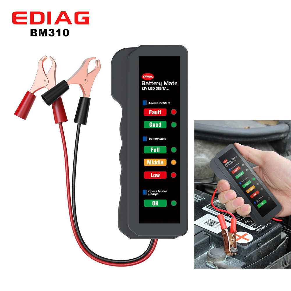 Mini 12V Auto Batterij Tester BM310 Digitale Dynamo Tester 6 Led Verlichting Display Car Obd 2 Diagnostic Tool Auto batterij Tester
