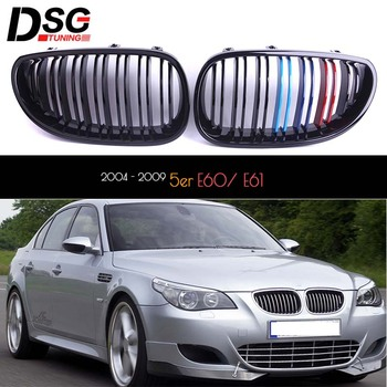 Pair of Black M-Badge-Colour Grille for Bmw 2004 - 2009 5 Series Sedan E60 Wagon E61 Replacement Grill OEM Fitment UV Cut image