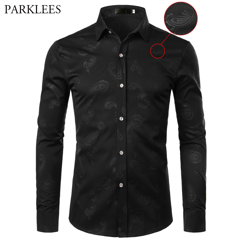 Floral Print Shirt Men Brand New Long Sleeve Mens Paisley Dress Shirts Casual Slim Fit Long Sleeve Black Shirts Camisas Hombre