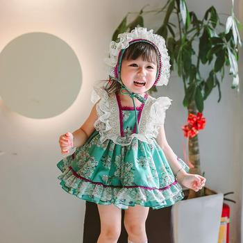 Spanish Lolita Girls Princess dress Sweet cute sleeveless print dress for girl birthday party Gown vestidos Y2911 drop shipping