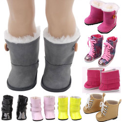 18 inch Girls Dolls Fur Snow Boots Shoes For 43cm Baby Doll Or Alexander Doll Accessory Girl Best Gift 15 Colors