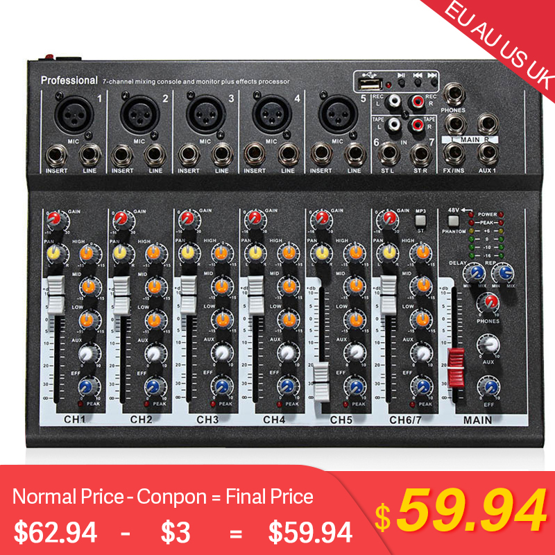 Professional 7 Channel Audio Mixer EU US AU UK USB 48V Phantom Power Microphone Sound Mixing Console KTV Amplifier  For Pub Club