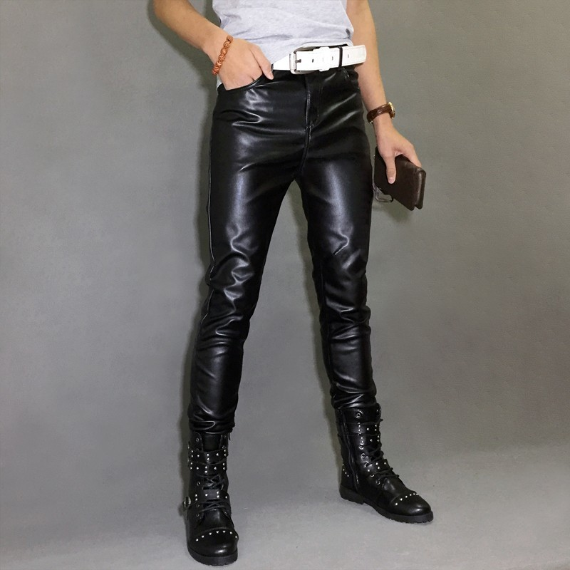 Mens Pu Leather Pants High Street Slim Fit Motorcycle Biker Trousers Male 2020 New Black Casual Skinny Leather Pencil Pants
