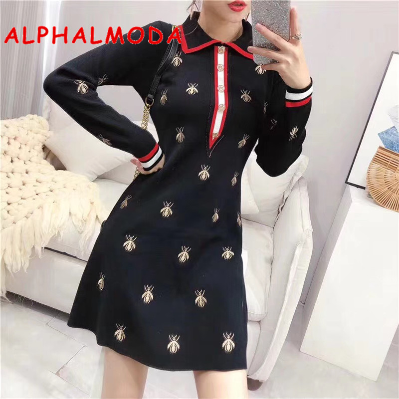 ALPHALMODA 2019 Autumn New Bees Embroidery Knitting Polo Dress Long-sleeved A-line Ladies Elegant Embroidered Sweater Vestidos