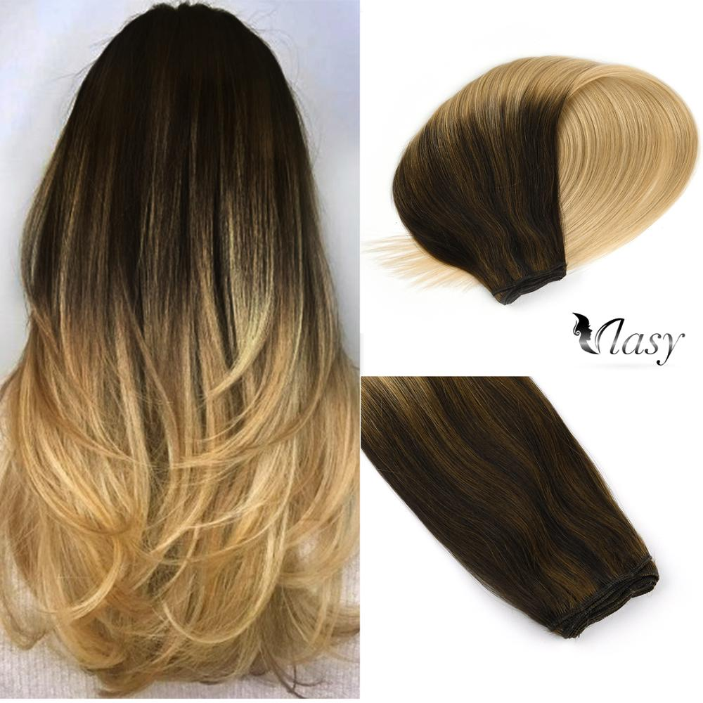 Vlasy 22'' 100% Remy Human Hair Weft Vanilla & Caviar Balayage Color Straight Double Drawn Hair Weave Bundles 100g/pc