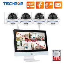 Techege tak ve çalıştır 8CH kablosuz NVR kiti 12 inç LCD NVR 1080P HD Vandalproof güvenlik IP kamera gece görüş WIFI CCTV sistemi