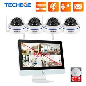 Image 1 - Techege tak ve çalıştır 8CH kablosuz NVR kiti 12 inç LCD NVR 1080P HD Vandalproof güvenlik IP kamera gece görüş WIFI CCTV sistemi