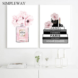 Flower Perfume Bottle Fashion Book Canvas Painting Makeup Poster and Print Wall Art Picture Modern Girl Woman Room Decoration