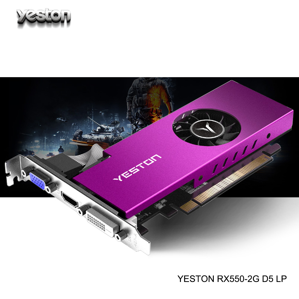 Yeston Radeon mini <font><b>RX</b></font> <font><b>550</b></font> GPU 2GB GDDR5 64bit Gaming Desktop computer PC Video Graphics Cards support VGA/DVI-D/HDMI PCI-E 3.0 image