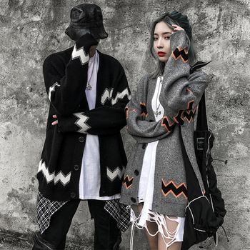 Striped V-neck Sweater Men and Women Couple's Autumn Fashion  European and American Style Single-Breasted Cardigan Loose Sweater цена 2017