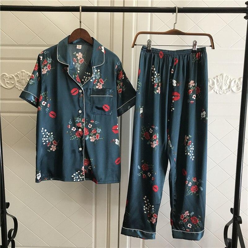 Summer Silk Satin Womens Pajamas Sets For Women Floral Pyjamas Women Sleepwear Turn Down Collars Pijama Mujer 2 Piece Sets