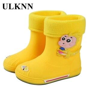 ULKNN, zapatos de invierno para niños, zapatos de PVC de goma para niños, zapatos de dinosaurio de dibujos animados para bebés, zapatos de agua para niñas, Botas de lluvia impermeables para otoño