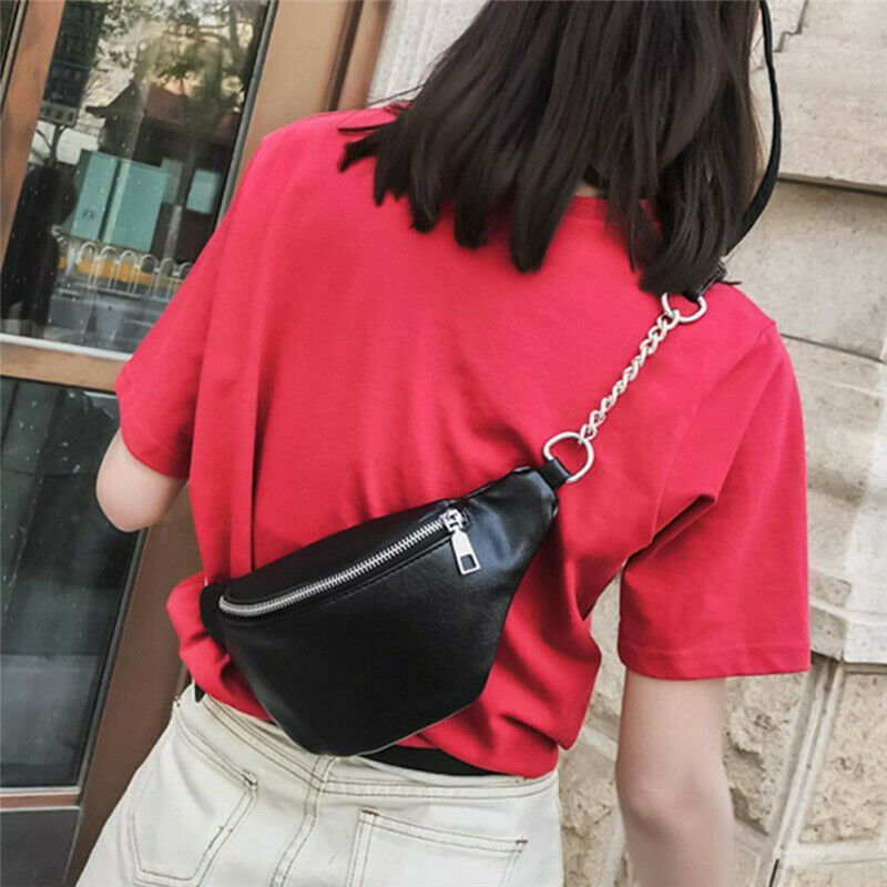 Women Waist Bag Fanny Pack PU Adjustable Belt Purse Small Purse Phone Key Pouch Solid Fashion Casual Light Weight Waist Pack