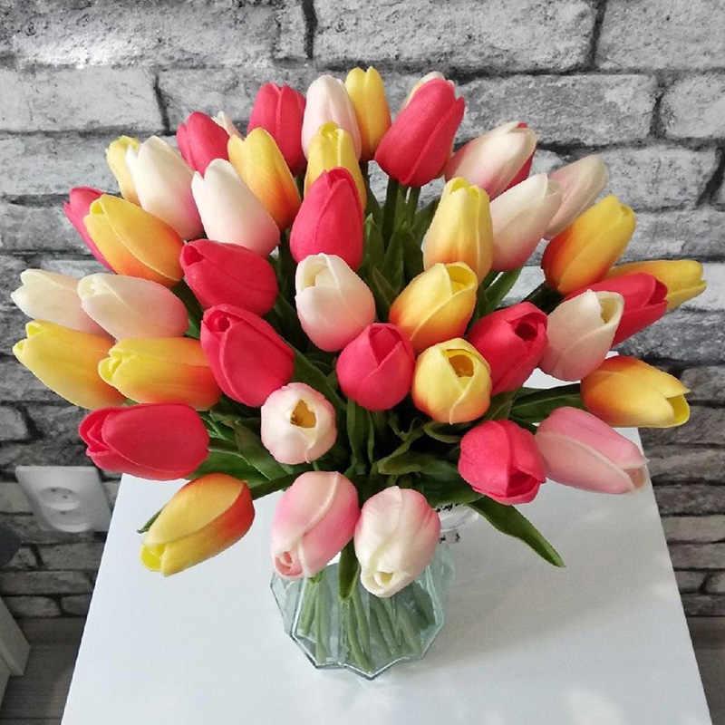 10Pcs Tulipsดอกไม้ประดิษฐ์ดอกไม้สัมผัสจริงดอกไม้ประดิษฐ์ปลอมดอกไม้งานแต่งงานตกแต่งดอกไม้บ้านสวนDecor