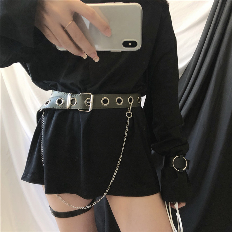 New Design Detachable Waist Belt Chain Punk Hip hop Trendy Women Belts Lady Fashion silver Pin Buckle leather Waistband Jeans in Men 39 s Belts from Apparel Accessories