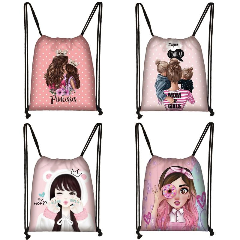 Cute Super Mama Print Drawstring Bag Women Storage Bag For Travelling Princess Girls Shopping Bags Ladies Casual Backpack