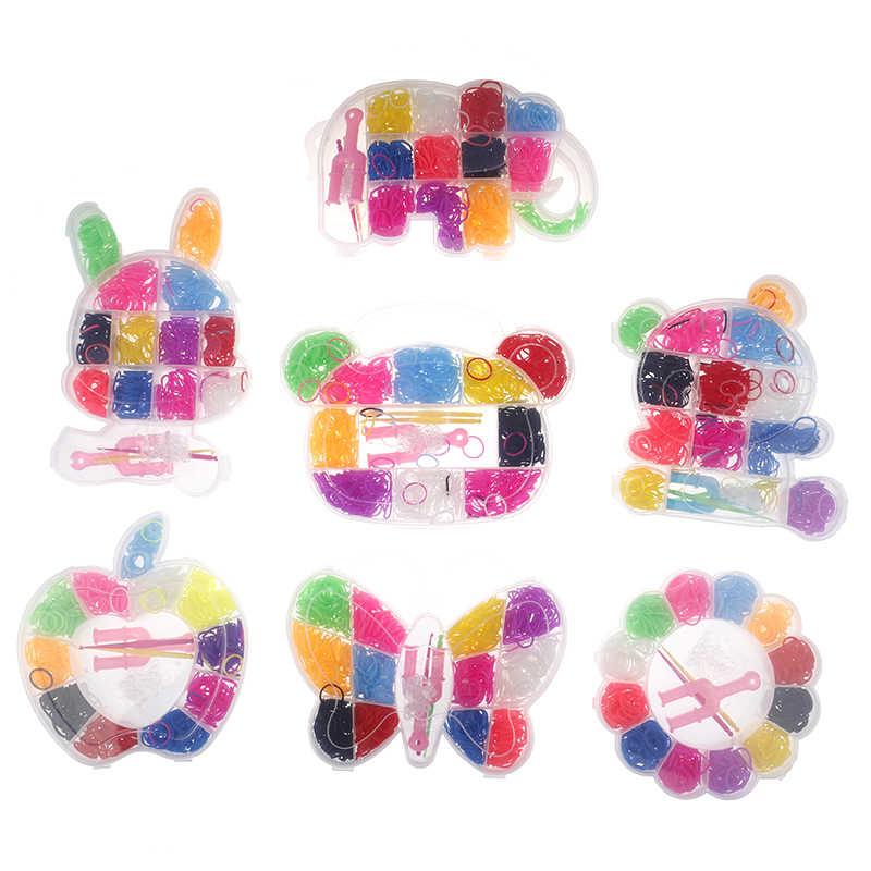 Vendita calda 600pcs Colorato Bande telaio di Gomma Del Tessuto Elastico Make Braccialetto di DIY Tool set Kit Box Ragazze Regalo Per Bambini giocattoli per I Bambini
