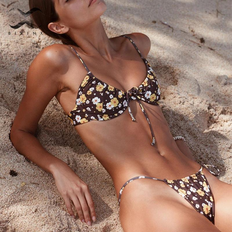 Brazilian String Bikini Thong Floral Print Swimwear Female Push Up Bathing Suit Bandage Swimsuit Women 2019 Sexy Biquini Bathers