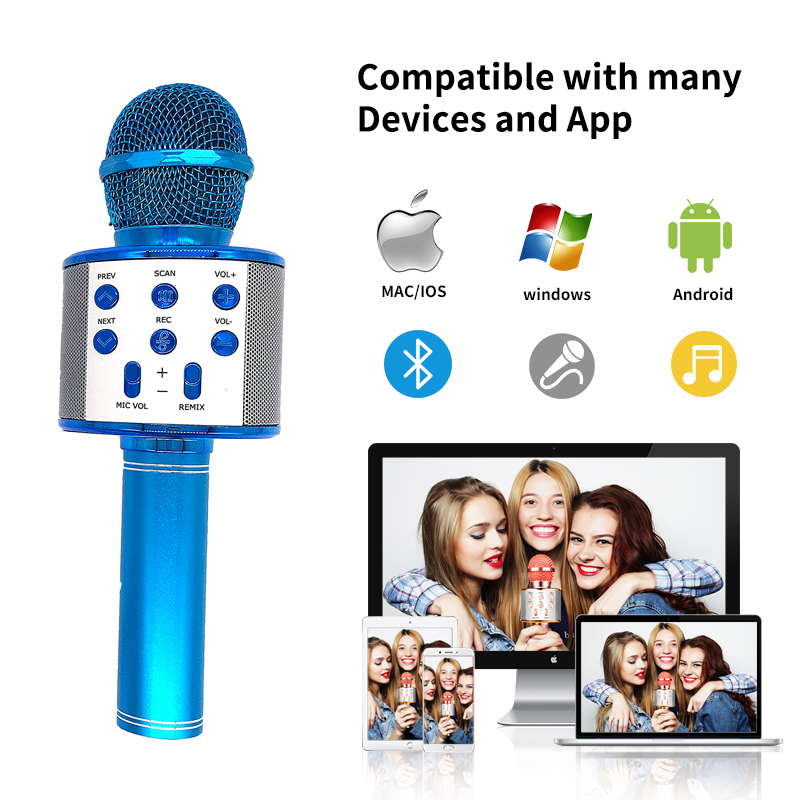 cheapest Bluetooth Handheld Karaoke Speaker Player Machine for Kids Adults Home KTV Party for Android Iphone Ipad Pc Girl Boy  Blue