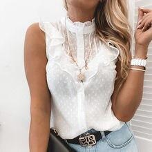 Eleganckie na co dzień jednolita, z marszczeniami kobiety bluzka biała lato dot wzór przycisk oneck koszula, żeński, moda letni top odzież damska do biura