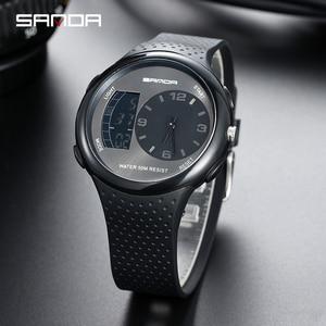 Image 2 - 三田男性の防水学生腕時計ダブルディスプレイ発光多機能アウトドアスポーツ人格電子腕時計