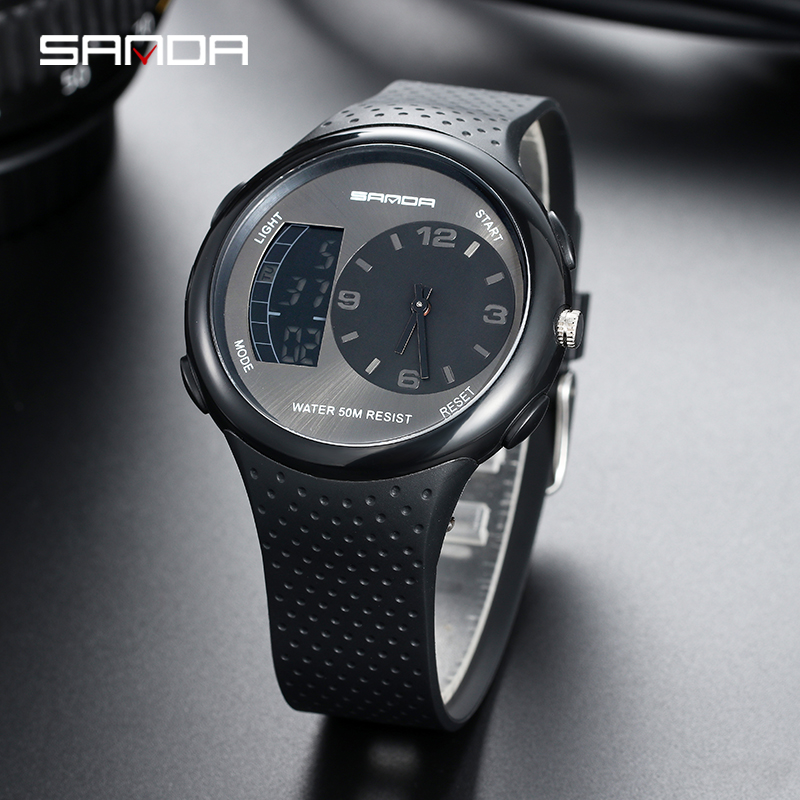 SANDA Men 39 s Waterproof Student Watch Double Display Luminous Multi function Outdoor Sports Personality Electronic Wristwatch in Quartz Watches from Watches