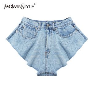 TWOTWINSTYLE Casual Ruffle Denim Shorts Female High Waist Wide Leg Shorts Trousers Women Fashion Clothes 2020 Spring Summer Tide