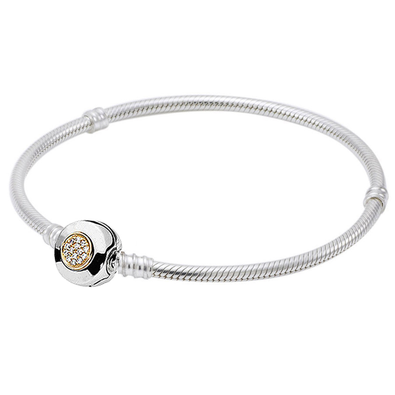 Original MOMEMTS Two-Tone Signature Snake Chain Bracelet Bangle Fit 925 Sterling Silver Bead Charm Bracelet Diy Europe Jewelry