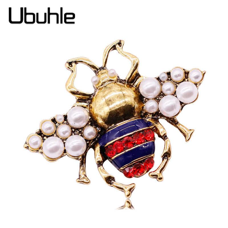Baru Trendi Merek Besar Lebah Bros Fashion Mutiara Imitasi Warna Emas Kaca Bee Serangga Bros untuk Wanita Laporan Brocade Perhiasan