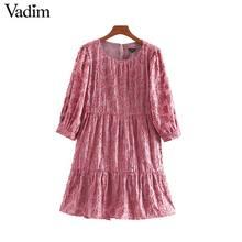 Vadim vrouwen chic bloemen patroon jurk drie kwart mouw O neck elegante vrouwelijke office wear solid mini jurken vestidos QD115