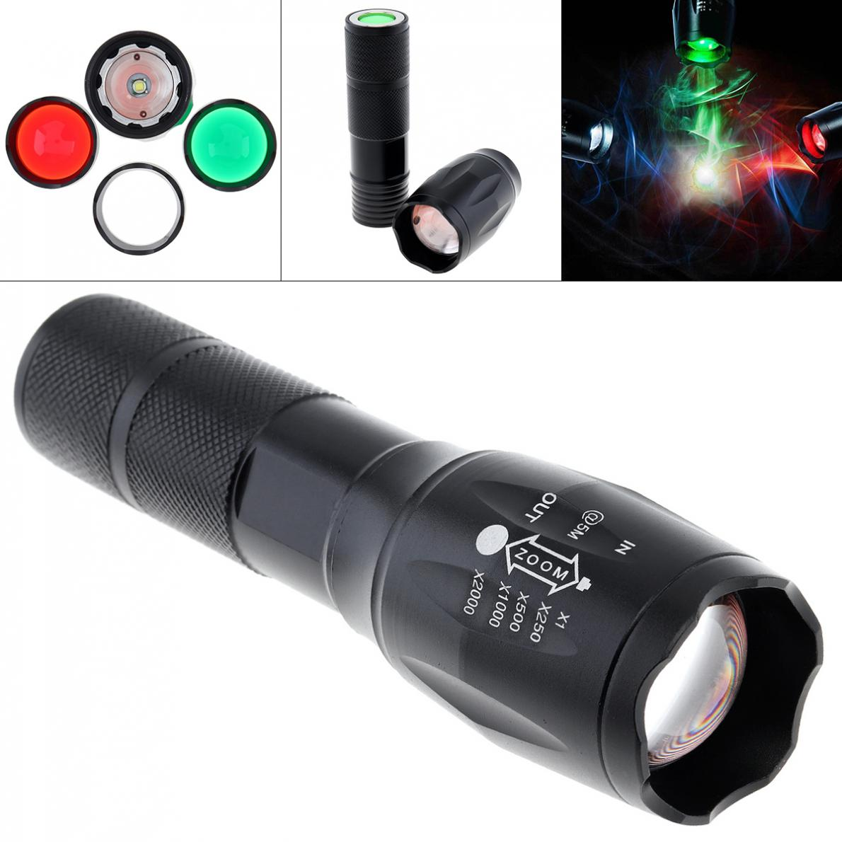 20000LM T6 LED Zoomable 3 Colour Flashlight Torch Light Super Bright 5 Mode 18650 AAA Battery Exchange Len Red Green White Light