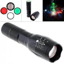 цена на 20000LM T6 LED Zoomable 3 Colour Flashlight Torch Light Super Bright 5 Mode 18650 AAA Battery Exchange Len Red Green White Light