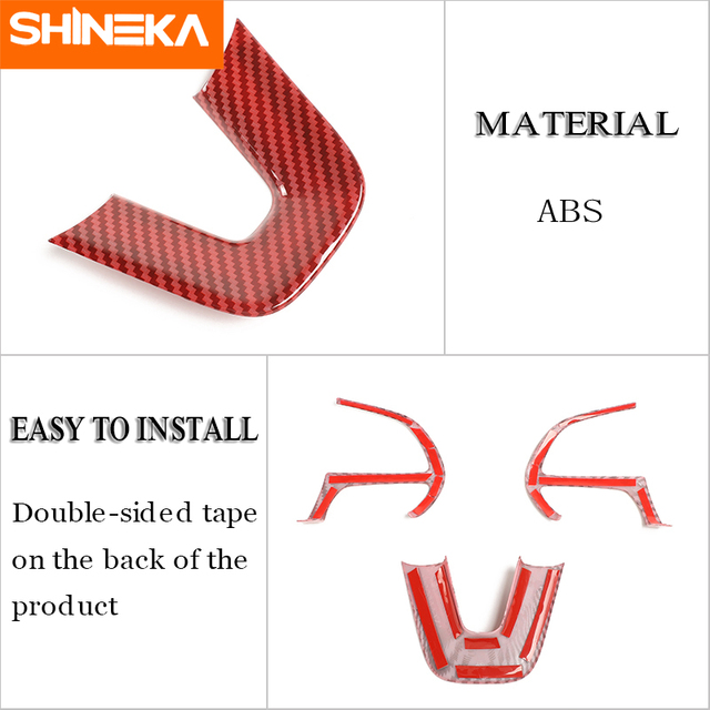 SHINEKA Interior Accessories For Dodge Challenger 2015+ Car Steering Wheel Decoration Cover Stickers For Dodge Charger 2015+ 5