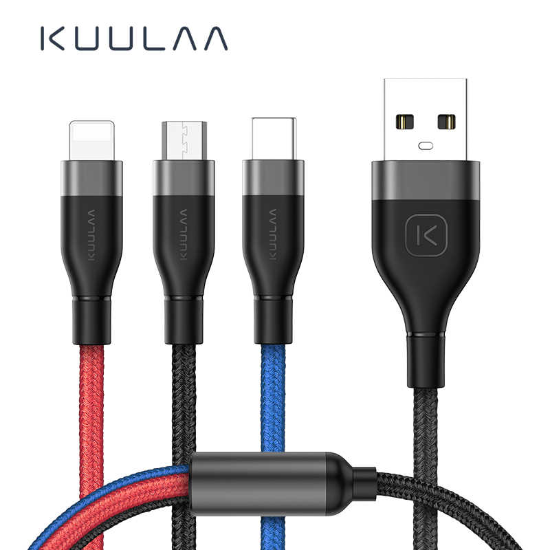 KUULAA 3 in 1 USB Cable For Mobile Phone Micro USB Type C Charger Cable For iPhone Fast Charging Cable Micro USB C Charger Cord