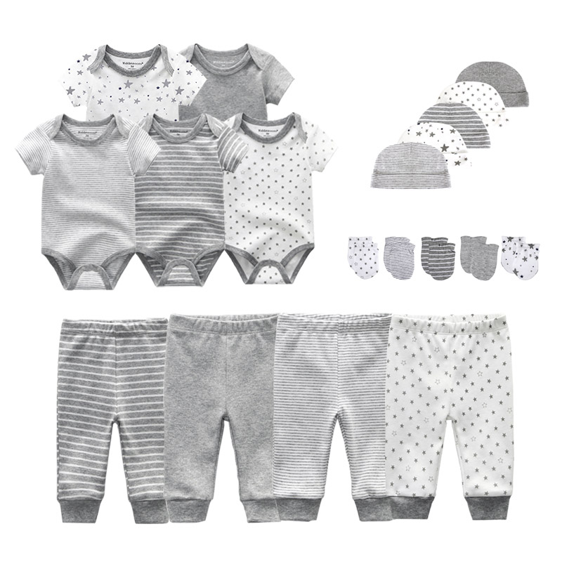 2020 Unisex Clothing Sets Newborn Baby Boy Clothes Solid Bodysuits+Pants+Hats+Gloves Cotton Baby Girl Clothes Roupa de bebe