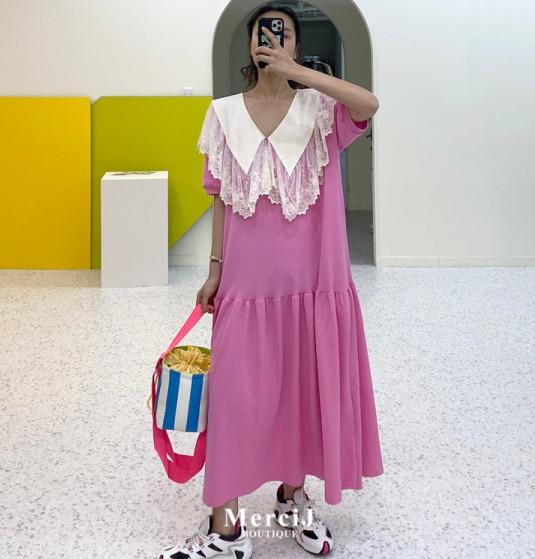 SuperAen Korean Style Long Dress Women Summer New 2020 Fashion Ladies Dress Short Sleeve Lace Stitching Women Clothing 2