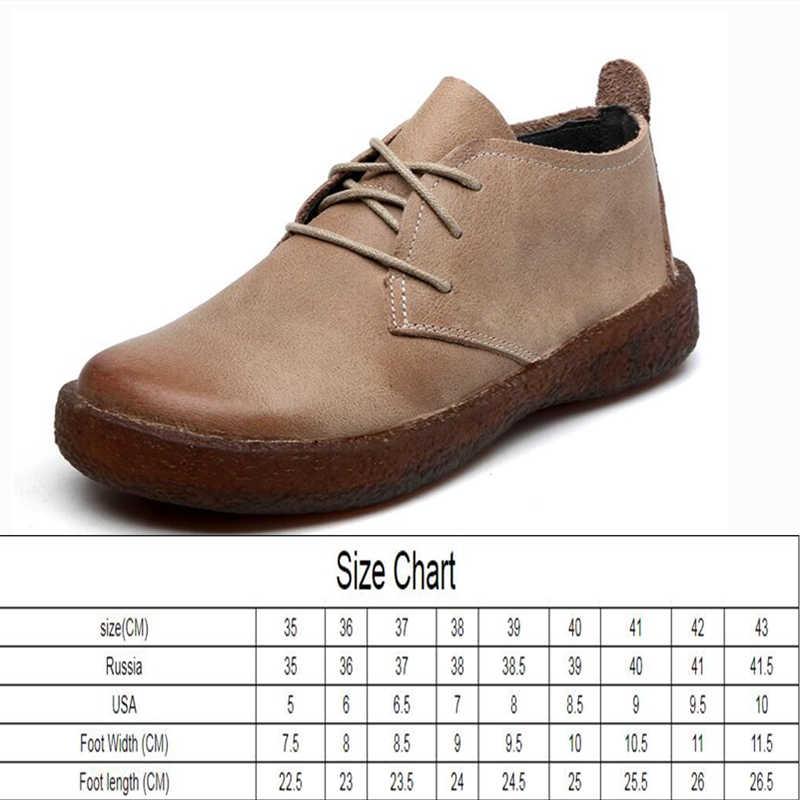 AIYUQI Frauen Schuhe Dame Flache 2020 Neue Herbst Natürliche Rindsleder Frauen Schuhe Spitze Up Retro Casual Schuhe Frauen