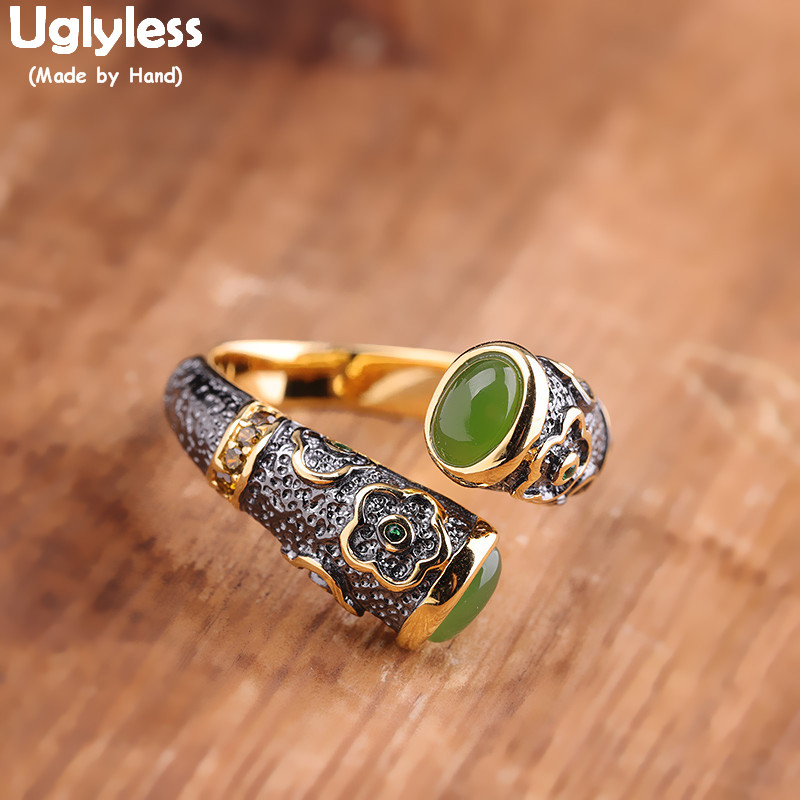 Uglyless Little Flowers Thai Silver Rings for Women Ethnic Multi Gemstones Jade Rings Solid 925 Silver Floral Fine Jewelry R828
