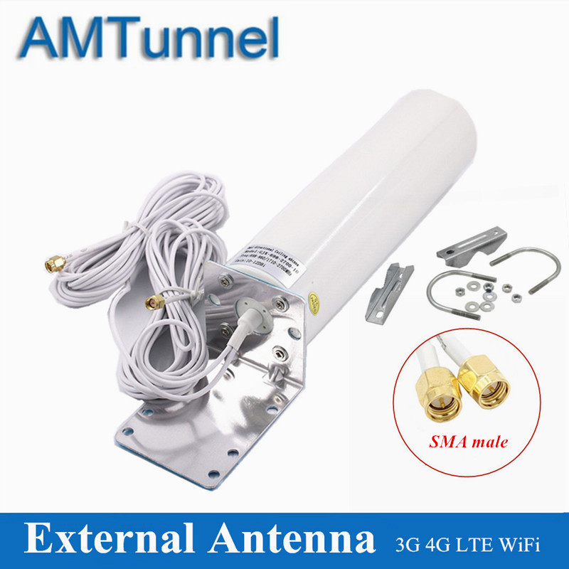 4G LTE Antena SMA 12dBi WiFi Antenna 3G Outside Antena Omnidirectional 5m Dual Cable 2.4GHz For Huawei ZTE Modem Routers