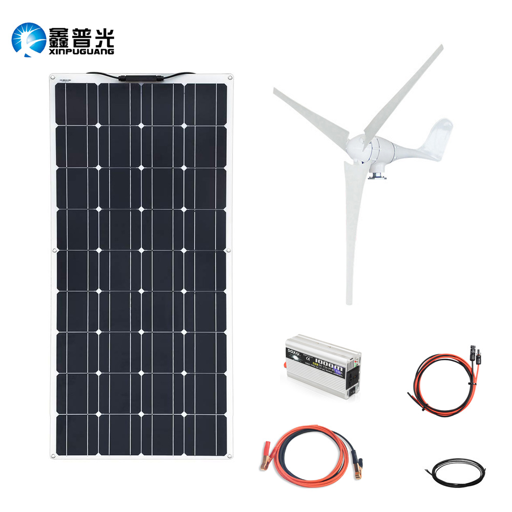 XINPUGUANG 100w Solar Panel 100w Wind Turbine Motors Hybrid 12v 200W House Home Solar Power System Module Mobile Dc Sale image