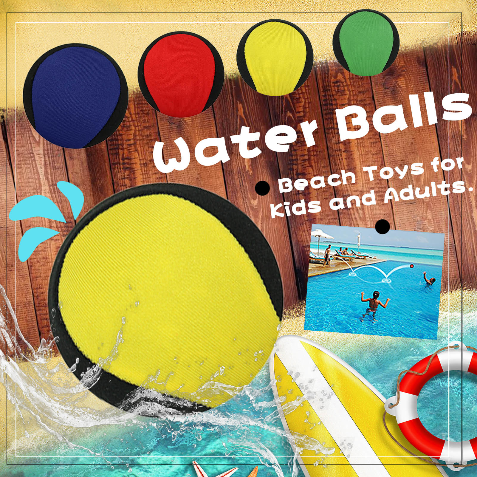 Inflatable Beach Ball Water Balloons Color Balls Bounce On Water Kids Adults Outdoor Beach Swim ToyWater Pool Balls 5.5cm