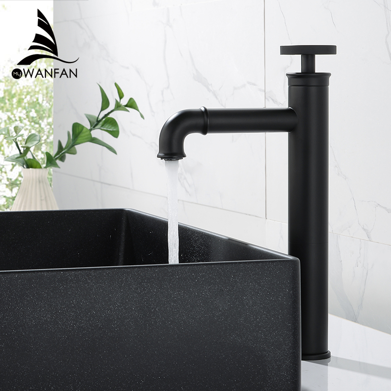 Basin Faucets Retro Industrial Style Matte Black Brass Crane Bathroom Faucet Hot And Cold Water Mixer Tap Torneira WF-F20A03R