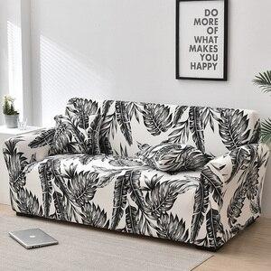 Image 5 - Folha floral impressão estiramento sofá capa para sala de estar algodão mobiliário protetor único loveseat sofá capa braço cadeira capa