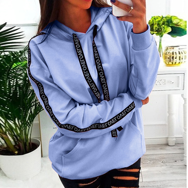 2019 Winter Autumn New Women Hoodies Letter Ribbon Long Sleeve Hooded Sweatshirts 5XL Plus Size Causal Pullover Streetwear GV784