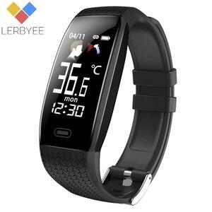 Image 1 - Lerbyee 2020 חכם שעון T5 גוף טמפרטורה עמיד למים כושר שעון שיחת תזכורת ספורט מצב Smartwatch ספורט גברים נשים חמה