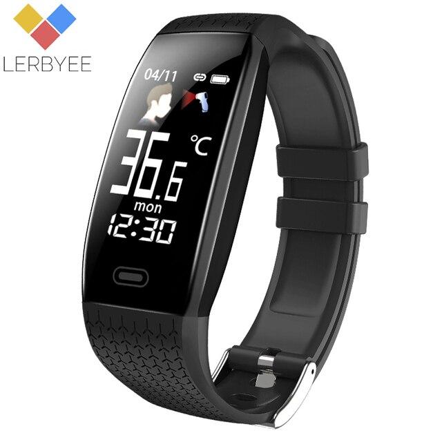 Lerbyee 2020 חכם שעון T5 גוף טמפרטורה עמיד למים כושר שעון שיחת תזכורת ספורט מצב Smartwatch ספורט גברים נשים חמה