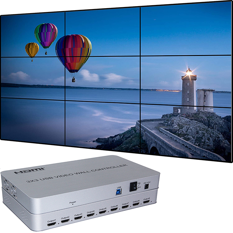 4K USB3.0 3x3 Video Wall Controller| 9 Channels |  13 Display Modes 1x1,1x2,1x3, 1x4, 2x1, 2x2, 2x3, 2x4, 3x1, 3x2,3x3, 4x1, 4x2