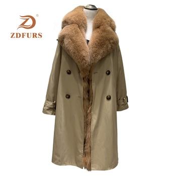 ZDFURS *Natural Rex Rabbit Fur Lining Parka Big Fox Fur Collar Coat Winter Jacket Women Natural Fur Warm Thick Parkas X-Long цена 2017